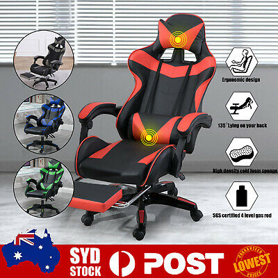 AU129.89 • Buy Gaming Office Chair Executive Racing Footrest Computer Seat PU Leather Backrest
