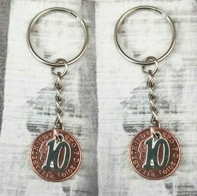 PAIR OF 10th YEAR WEDDING ANNIVERSARY DATED PENNY COINS GIFT KEYRINGS HIS & HERS • 5.49£
