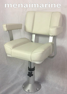 $ CDN529.22 • Buy White Captains Boat Seat, Adjustable Pedestal Seat Height 18  To 24  360 Degree