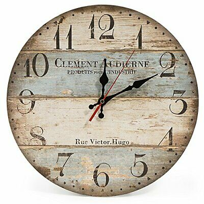 Home 30cm Silent Wooden Round Wall Clock, 12  Vintage Rustic Shabby Chic • 16.99£