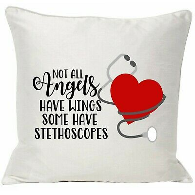 Dr Doctor Nurse Cushion Cover  Thank You  Gift Angel Stethoscope  • 7.99£
