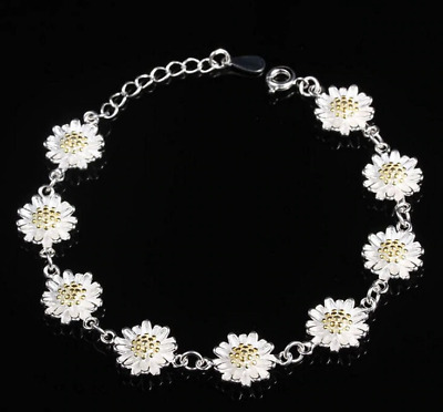 Daisy Chain Bracelet Anklet Silver 925 Sterling Bangle Flower Jewellery Ankle UK • 4.95£