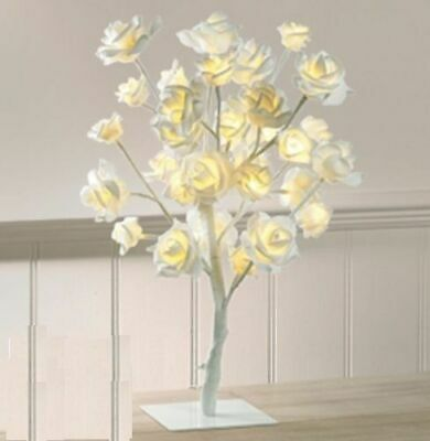 Vintage Led 32 Warm White Led Lights With Rose Tree Table Lamp Light Best Gifts • 14.99£