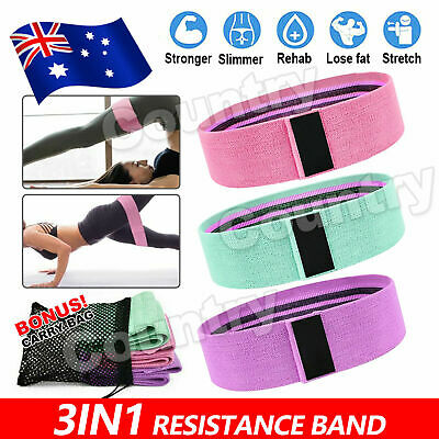 AU12.85 • Buy Resistance Booty Bands Set 3 Fabric Hip Circle Bands Workout Exercise Guide+Bag