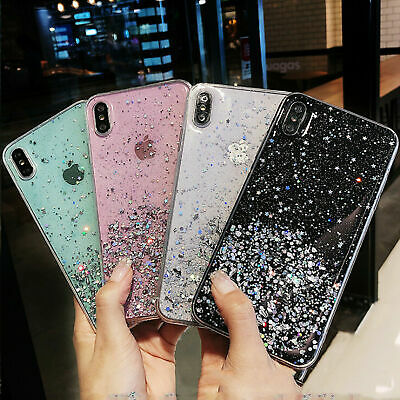 £2.99 • Buy Case For IPhone 11 12 Pro Max XR 7 8 Plus XS SE Glitter Silicone Hard Cover