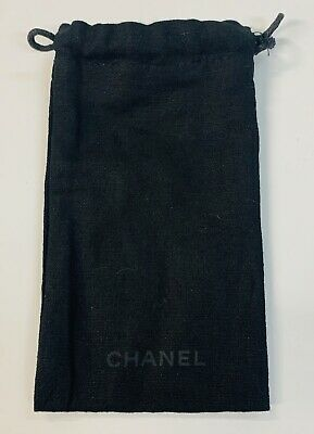 Chanel Black Soft Lined Pull String Bag 4  X 7  Made In Italy • 7.15£