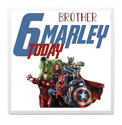 Personalised AVENGERS Iron Man Hulk Birthday Card Son Brother ANY NAME AGE • 3.50£
