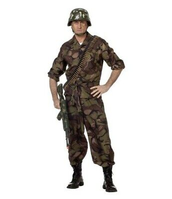 Mens Army Soldier Guy Military Forces Fancy Dress Up Party Costume Outfit Sze 48 • 13.99£