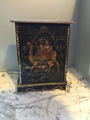 $ CDN789 • Buy Antique Qajar Or Indo Persian Mughal Painted Mini Chest Of Drawers Polychrome