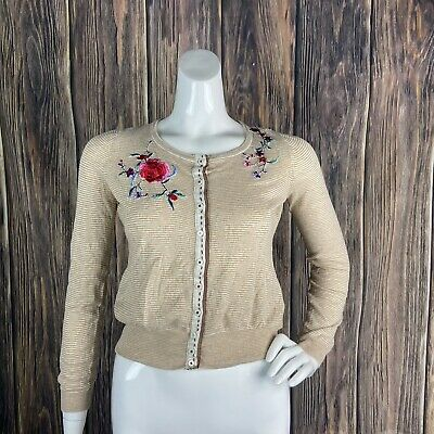 $ CDN28.79 • Buy Anthropologie Sparrow Cardigan Sweater Stripes Floral Multicolor Embroidery Boho