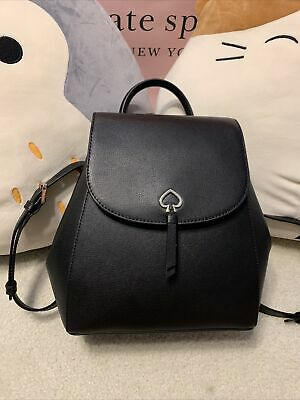 $ CDN324.37 • Buy NWT Kate Spade Adel Medium Flap Backpack In Black Leather WKRU6412