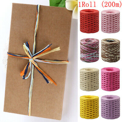 £3.99 • Buy 200m/Roll Raffia Ribbon Paper Rope Palm Wrapping Packaging Gift Box Rope String