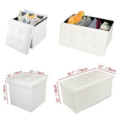 Folding Storage Ottoman Seat Stool Footstool Toy Storage Box Small/Large UK • 11.99£