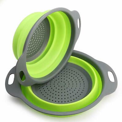 2 Pcs Collapsible Colander Silicone Kitchen, Silicone Strainer Set Filter Basket • 6.99£