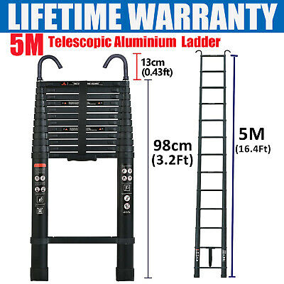 5M Black Aluminum Telescopic Extension Ladder 16.4ft Telescopic Ladder With Hook • 88£