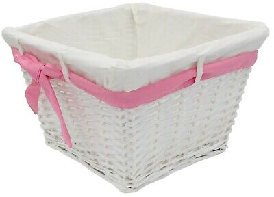 Small Rattan Woven Wicker Lined Baskets 18cm Small Basket Pink Ribbon • 5.99£
