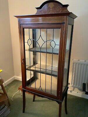 Antique Inlaid Mahogany  glass Display Cabinet  • 50£