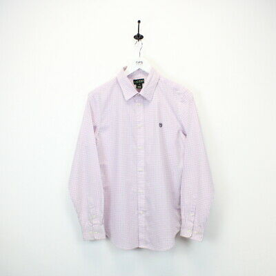 Womens LAUREN RALPH LAUREN Check Shirt Long Sleeve Pink | Medium UK 10-12 • 14£