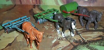 3 X Britains Vintage Rollers With 2 X Britains Plough Horses & One Other Horse • 34.75£