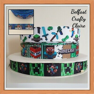 £0.99 • Buy Game Character Inspired Grosgrain Ribbon - 22 Mm - Bows Cake Card Crafts