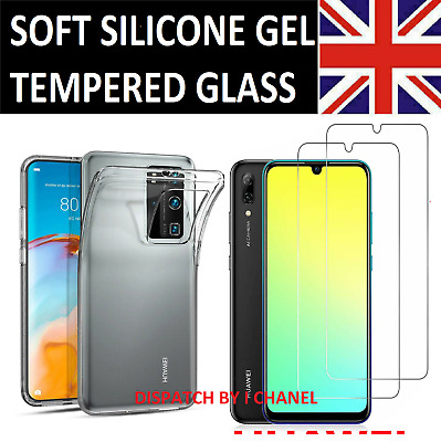 HUWAEI P30 PRO P20 P10 P SMART P40 LITE Tempered Glass Screen Protector Gel Case • 3.98£