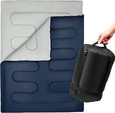 SUNMER 300GSM Double Sleeping Bag - King Size - Converts Into 2 Singles - 3-4 • 50.72£