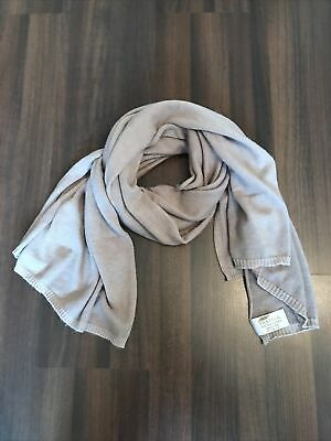 Ladies Feather 100% Pure Cashmere Large Scarf Made In Nepal Beige Mink  • 30£