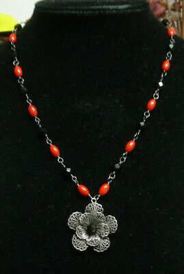 Yvone Christa 925 Silver Necklace W/filigree Pendant,coral And Whitby Jet Beads • 140£