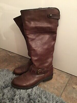 Pavers Brown Long Leather Boots Size UK 5 • 22£