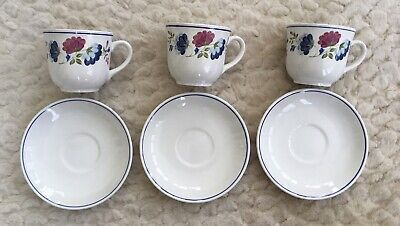 £13.50 • Buy BHS Priory Multi Floral 3 Tea Cups & 3 Saucers Never Used