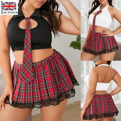 Plus Size Womens School Girl Costume Sexy Lingerie Mini Dress Babydoll Nightwear • 10.39£
