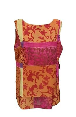 AU35 • Buy Vintage Womens Tie Detail Sleeveless Blouse Top Size 14 70s 80s Colourful Y2K