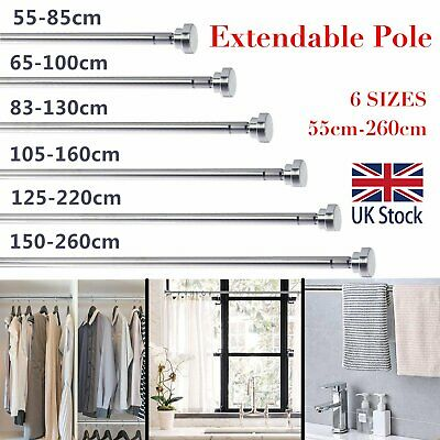 £12.99 • Buy Spring Extendable Clothes Rail Telescopic Metal Shower Curtain Pole Wardrobe Rod