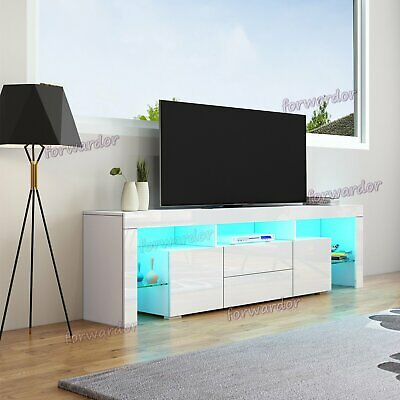 200cm TV Cabinet Stand Unit LED High Gloss 2 Doors 2 Drawers With Glass Shelves • 149.99£