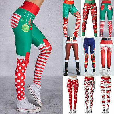 Womens Christmas Leggings Workout Yoga Pants Xmas Party Stretchy Fitness Trouser • 7.99£