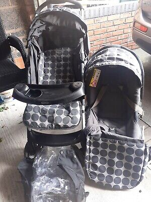 Graco Mirage Black Grey Travel System Single Seat Stroller And Carseat • 30£