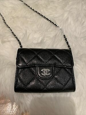 AU2500 • Buy Chanel Wallet On Chain Black Silver Brand New
