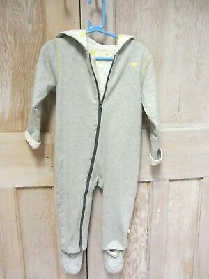 NEW  BOYS All In One 1onesie With Booties Pram Suit Cotton Grey 1-2 Years  • 6.99£