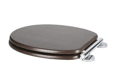 Croydex Montoro Soft Close Toilet Seat Lid Round Heavy Duty Chrome Hinge Walnut • 38.85£