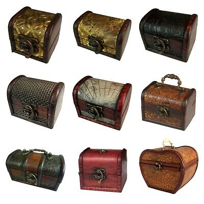 £6.99 • Buy Small Colonial Style Treasure Chest Wooden Organizer Vintage Rustic Storage Box