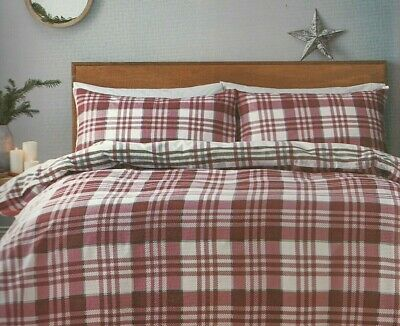 Jeff Banks Duvet Set Brushed 100% Cotton Red Grey Check Ports Of Call All Sizes • 32.95£