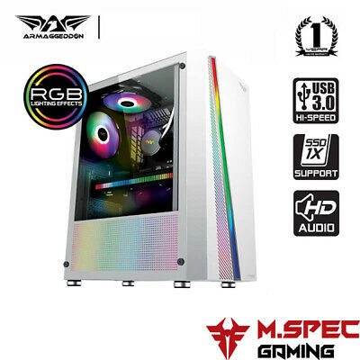 AU65 • Buy ATX PC Gaming Case Tempered Glass With Front RGB Lighting Strip-No RGB Fan (K2)