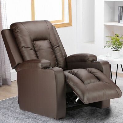 £227.99 • Buy Adjustable Recliner Lounge Chair PU Leather Sofa Armchair W/ Cup Holder Bedroom
