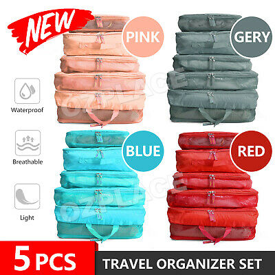 AU8.85 • Buy 5pcs Packing Cube Pouch Suitcase Clothes Storage Bags Travel Luggage Organiser