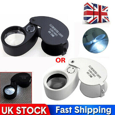£4.98 • Buy 40 X Magnifying Loupe Jewelry Eye Glass Magnifier LED Light Jewelers Loop Pocket
