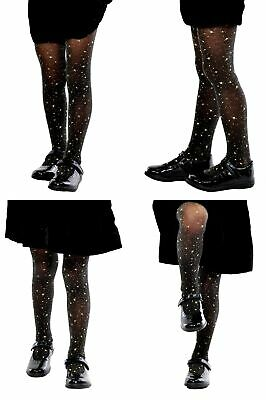 £2.99 • Buy Girls Black Sheer Gold Stars Tights Party Special Occasion Aurellie