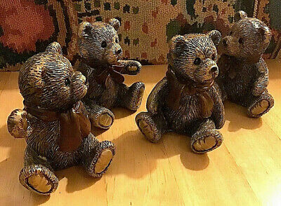 £16.50 • Buy Set Of 4 Individual Bronze Effect Teddy Bear Ornaments Home