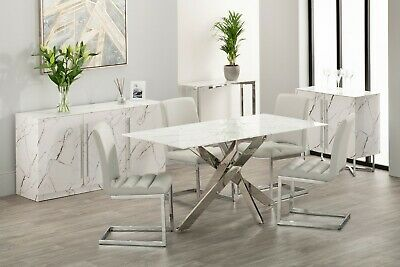 Marble Dining Table Rectangular Chrome Leather Dining Chair Set Grey Taupe Faux • 455.99£