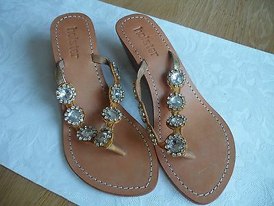 Holster Sandles / Shoes With  Genuine Swarovski Crystal Stones Size 6 Brand New • 89£
