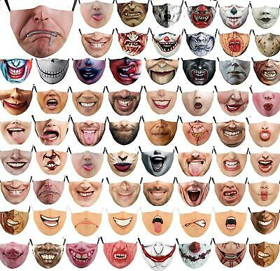 $ CDN11.29 • Buy Unisex Halloween 3d Funny Mouth Mark Cover Facemask Washable Hip Hop Party Magic